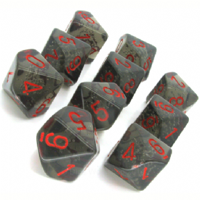 Smoke & Red Translucent D10 Ten Sided Dice Set